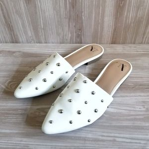 A New Day Kari White Leather Silver Studded Mules